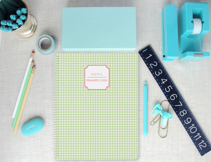 Gingham Personalized Spiral Notebook