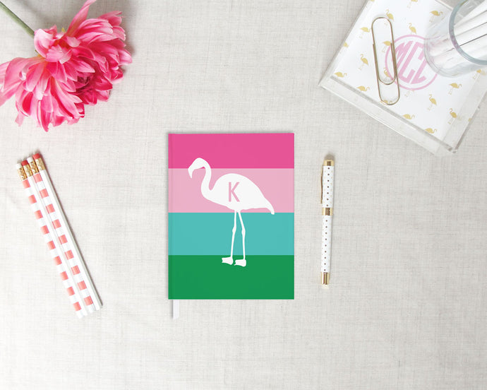 Flamingo Stripe Monogram Hardback Journal | Flamingos for a Cure | Meredith Collie Paper
