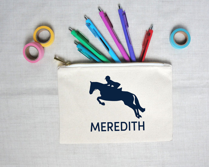 Equestrian Silhouette Lined Pencil Pouch | Meredith Collie Paper