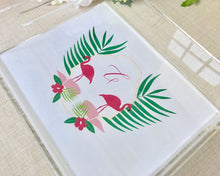 Load image into Gallery viewer, Flamingo Crest Monogram Lucite Tray / Flamingos for a Cure / Meredith Collie Paper