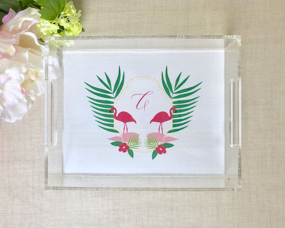 Flamingo Crest Monogram Lucite Tray / Flamingos for a Cure / Meredith Collie Paper