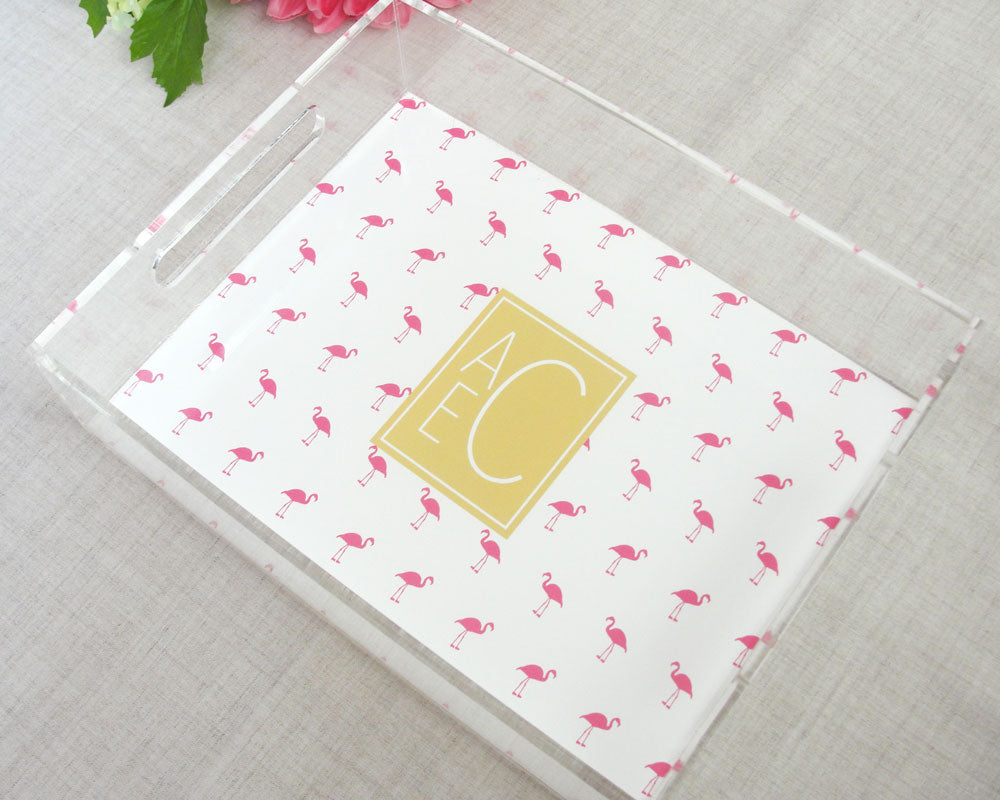 Mini Flamingo Monogram Lucite Tray with Handles | Flamingos for a Cure | Meredith Collie Paper
