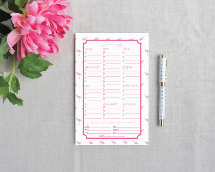 Mini Flamingo Grocery Shopping List Notepad | Flamingos for a Cure | Meredith Collie Paper
