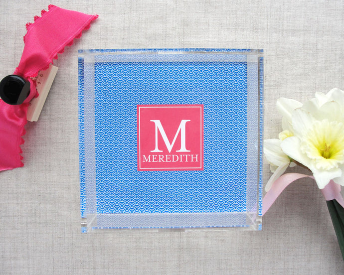 Monogram Japanese Ocean Wave Pattern Lucite Tray