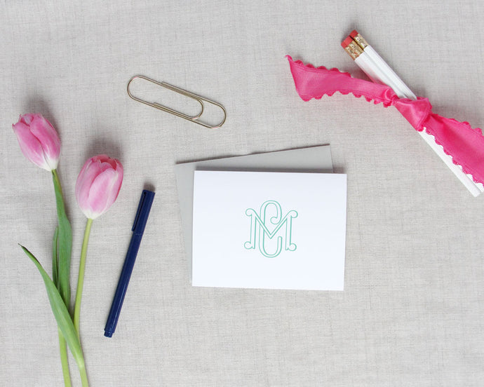 Two Letter Interlocking Monogram Folded Note Cards | Meredith Collie Paper