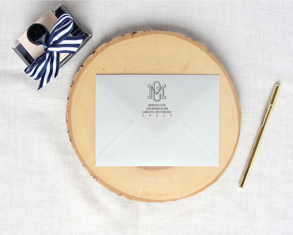 Two Letter Interlocking Monogram Return Address Stamp | Meredith Collie Paper