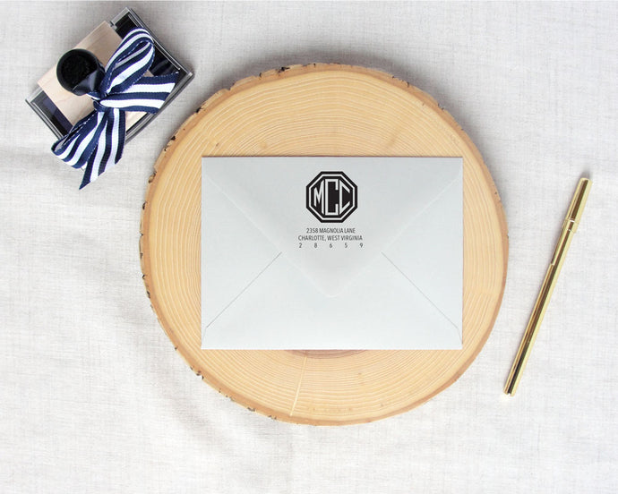 Solid Hexagon Monogram Return Address Stamp | Meredith Collie Paper