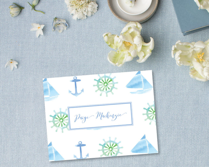 Nautical Watercolor Personalized Stationery - Blue | Meredith Collie Paper