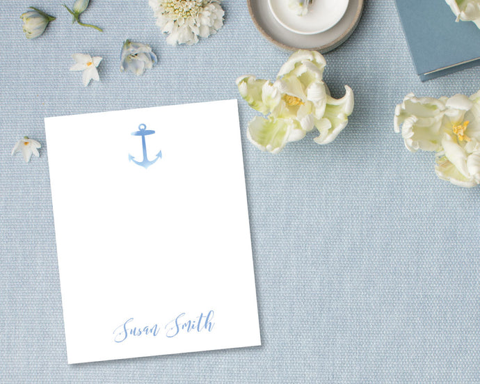 Nautical Silhouette Personalized Stationery - Blue | Meredith Collie Paper