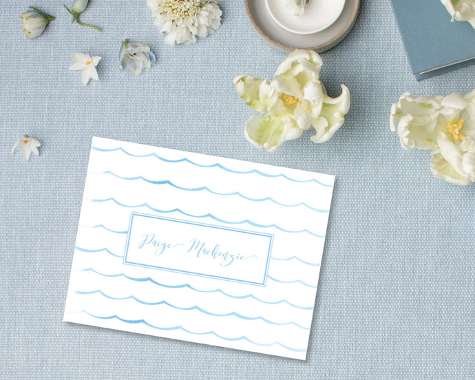 Ocean Wave Personalized Note Cards - Blue | Meredith Collie Paper