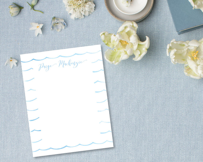 Ocean Wave Personalized Stationery - Blue | Meredith Collie Paper