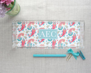 Monogram Lucite Tray in Paisley Pattern