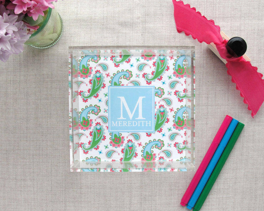 Monogram Lucite Tray in Paisley Pattern, Mini | Meredith Collie Paper
