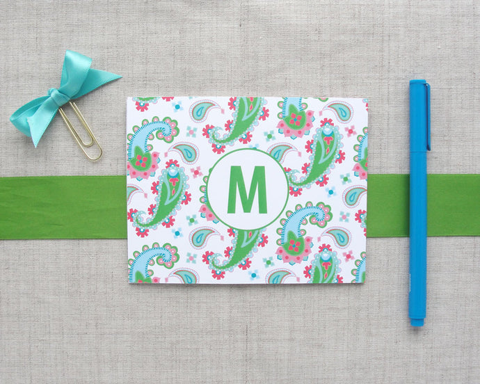 Monogram Paisley Folded Note Cards | Meredith Collie Paper