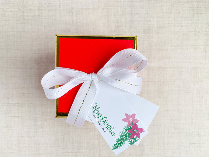 Personalized Poinsettia and Pine Branches Holiday Enclosure Cards