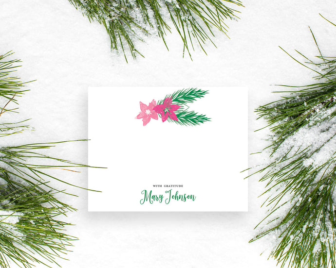 Personalized Christmas Poinsettia and Holly Leaves Holiday Thank You Notes
