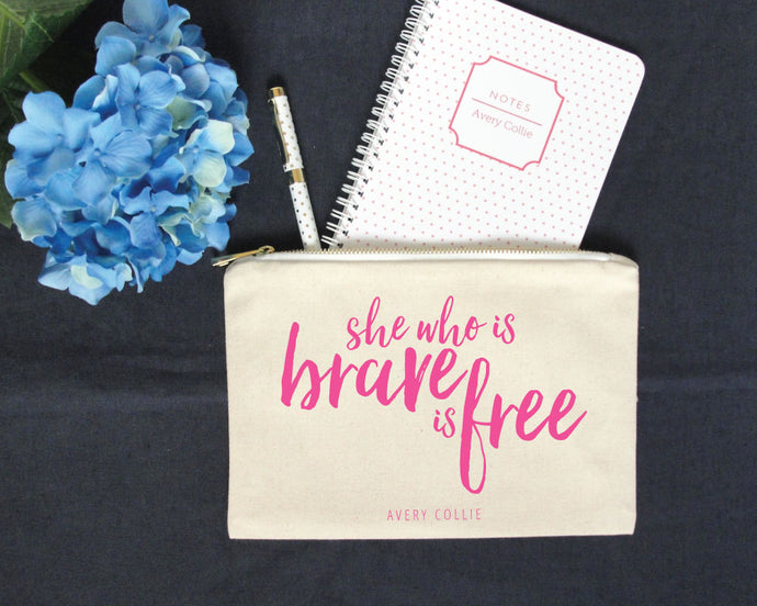 She Who is Brave Personalized Pencil Pouch