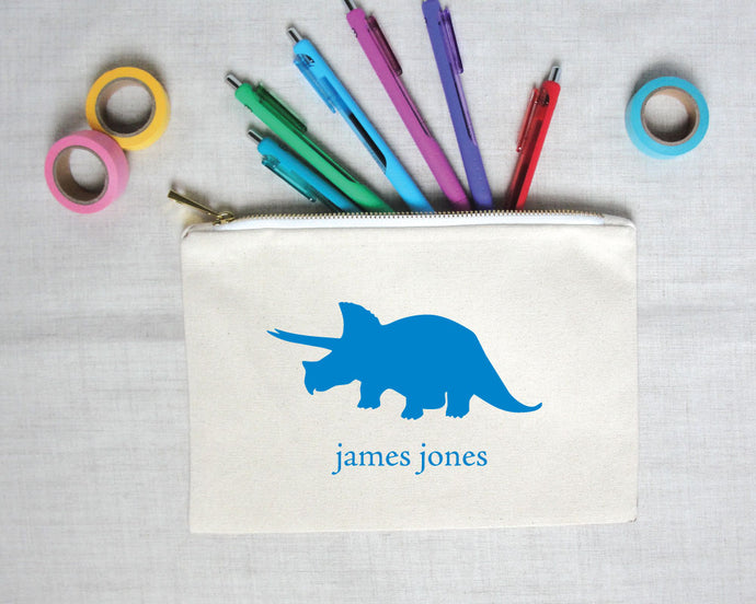 personalized dinosaur silhouette pencil pouch