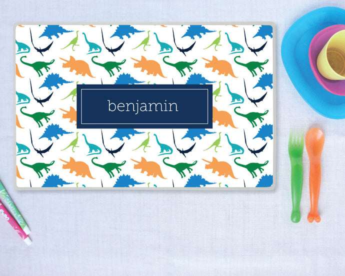 Preppy Dinosaur Personalize Placemat