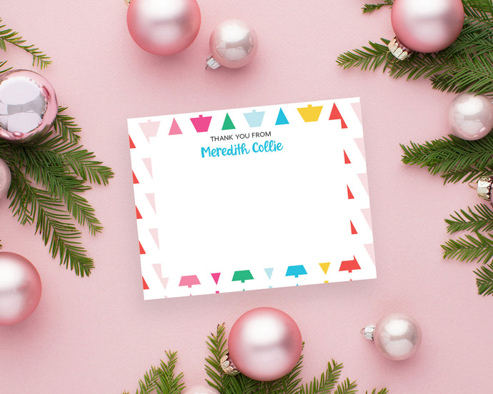 Personalized Rainbow Christmas Trees Holiday Thank You Notes