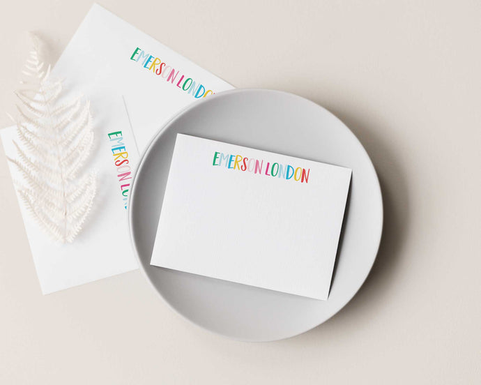 Rainbow Brush Lettered Personalized Stationery