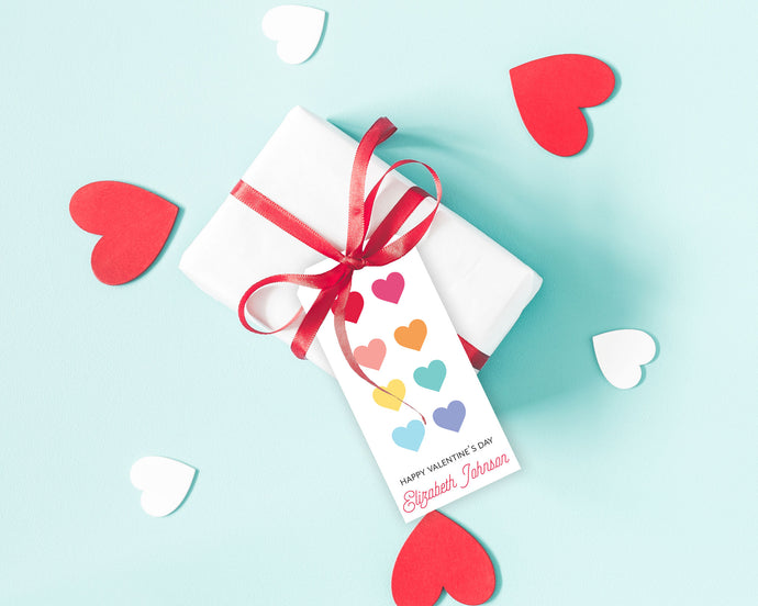 Rainbow Hearts Personalized Valentine's Day Gift Tags