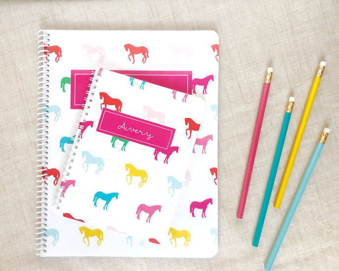 Rainbow Horse Personalized Spiral Notebook / Meredith Collie Paper
