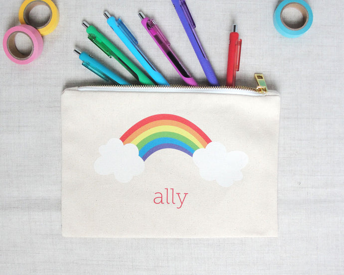 Rainbow Lined Canvas Pouch | Meredith Collie Paper