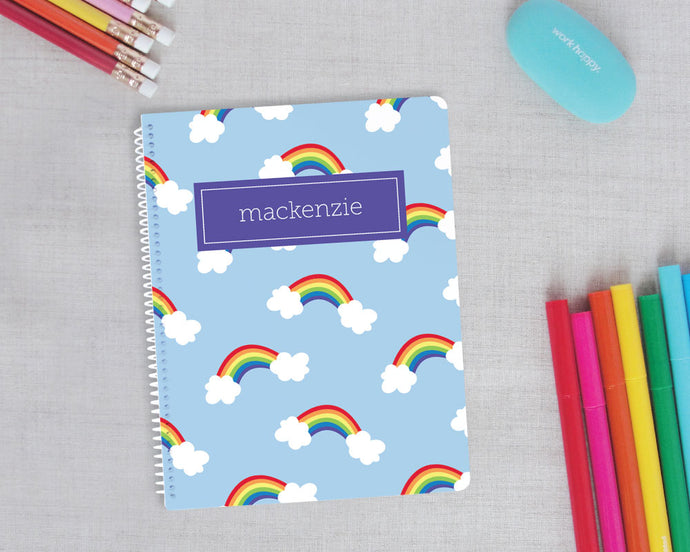 Rainbow Personalized Spiral Notebook