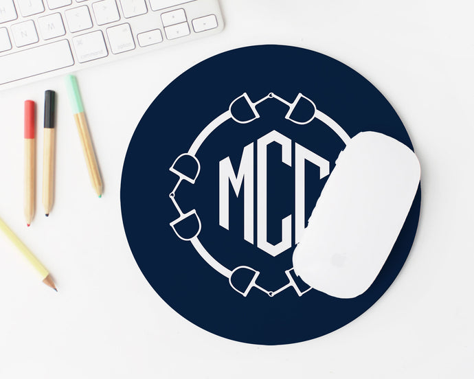 Equestrian Monogram Mousepad - Round / Meredith Collie Paper