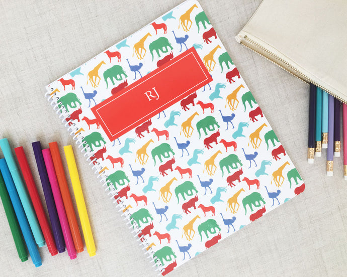 Safari Animal Personalized Spiral Notebook