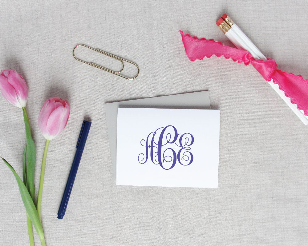 Script Monogram Folded Note Cards / Meredith Collie Paper