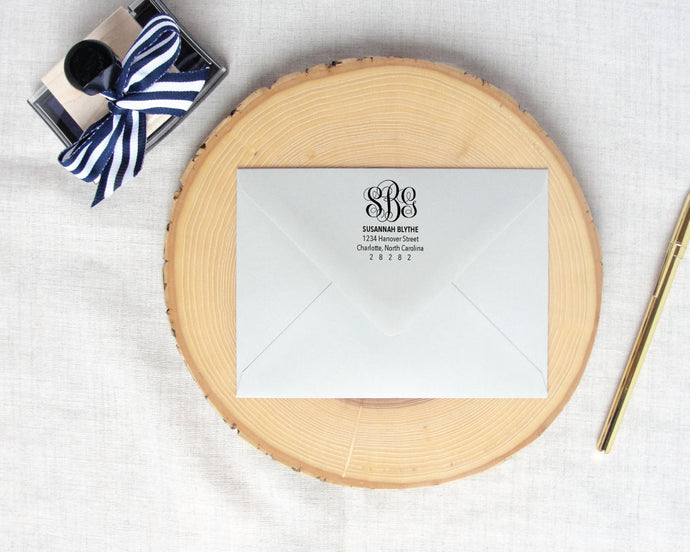 Script Monogram Address Stamp / Meredith Collie Paper