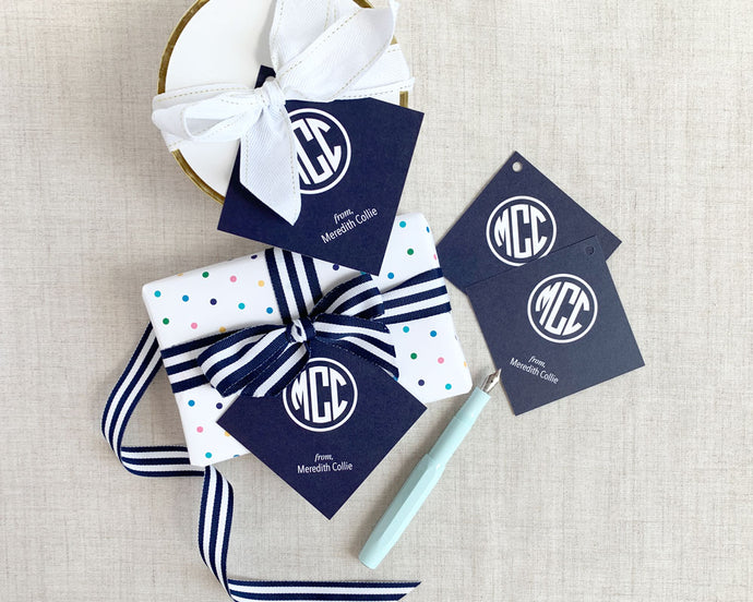 Solid Color Monogram Square Gift Tags