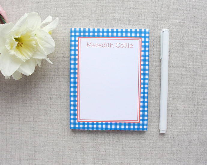 Gingham Personalized Notepad