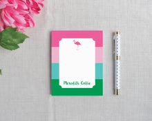 Load image into Gallery viewer, Flamingo Stripe Personalized Small Notepad | Flamingos for a Cure | Meredith Collie Paper