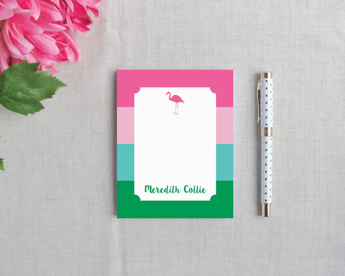 Flamingo Stripe Personalized Small Notepad | Flamingos for a Cure | Meredith Collie Paper