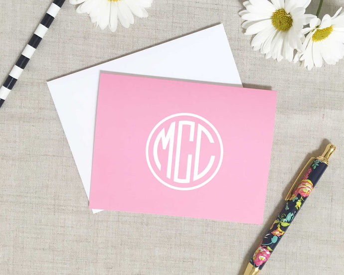 Solid Monogram Folded Note Cards | Meredith Collie Paper