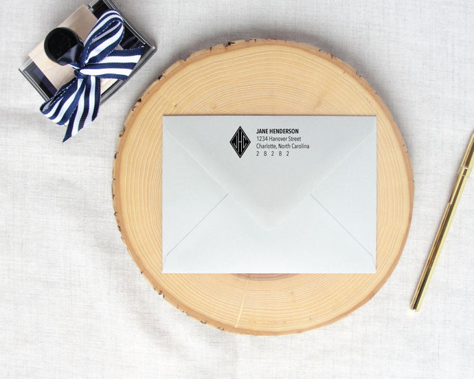 Solid Diamond Monogram Return Address Stamp