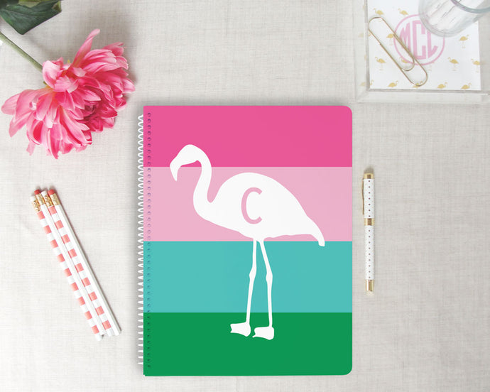 Flamingo Stripe Monogram Spiral Notebook