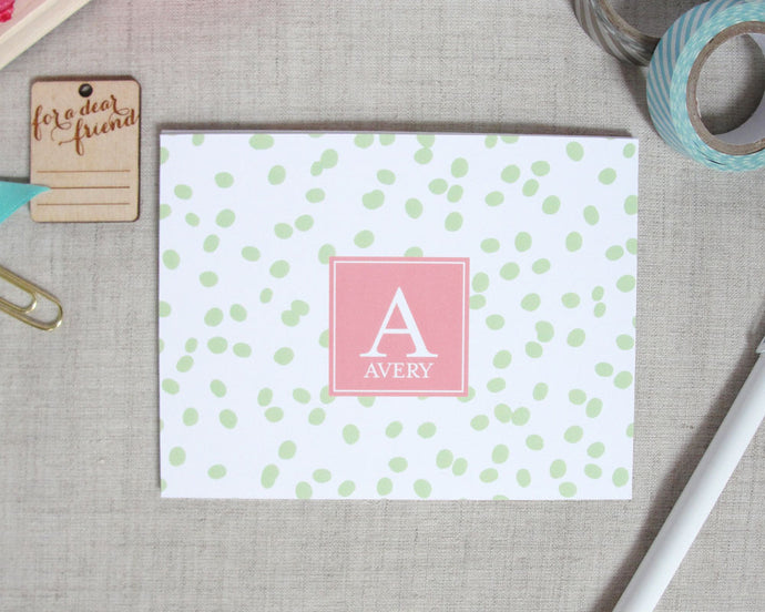 Monogram Folded Note Cards in Well Spotted Pattern | Meredith Collie Paper