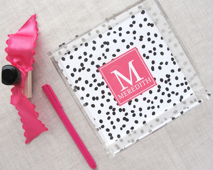 Monogram Lucite Tray in Well Spotted Pattern, Mini | Meredith Collie Paper