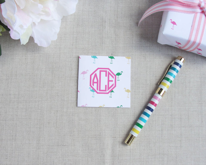 Mini Flamingo Monogram Mini Square Folded Enclosure Card | Flamingos for a Cure | Meredith Collie Paper