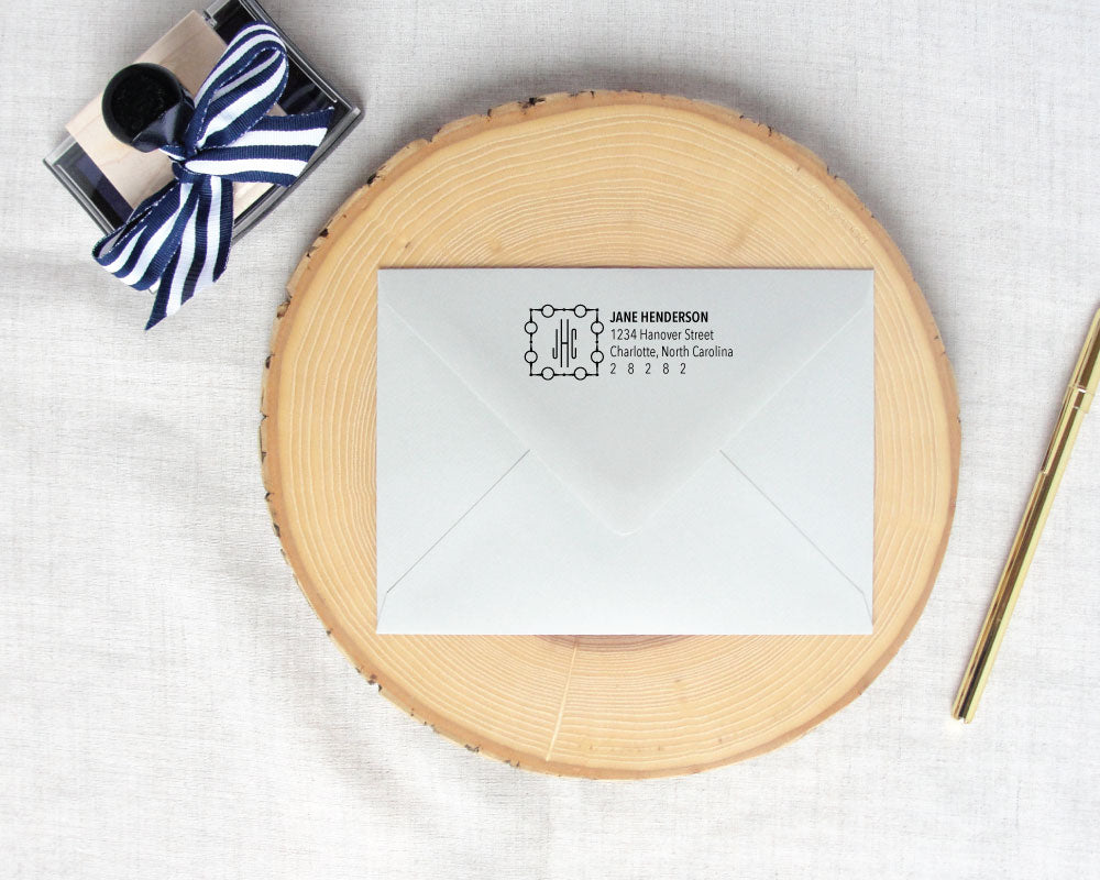 Square Loose Ring Equestrian Monogram Return Address Stamp