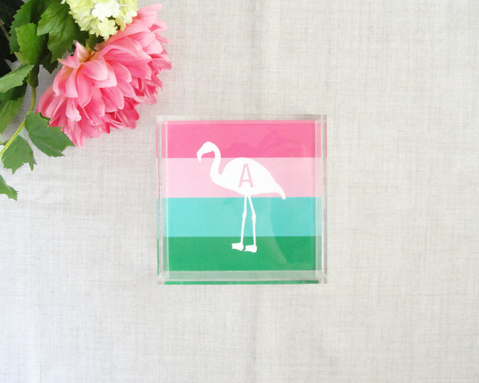 Flamingo Stripe Monogram Lucite Tray