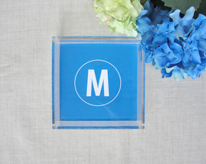 Monogram Square Lucite Tray | Meredith Collie Paper