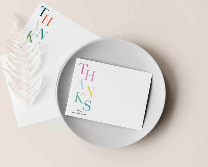 Stacked Thanks Personalized Stationery
