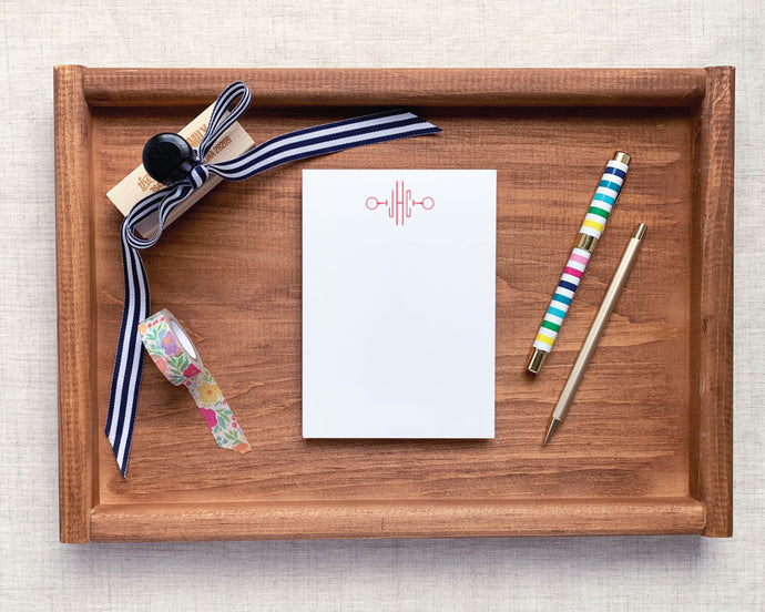 Loose Ring Snaffle Equestrian Monogram Stationery