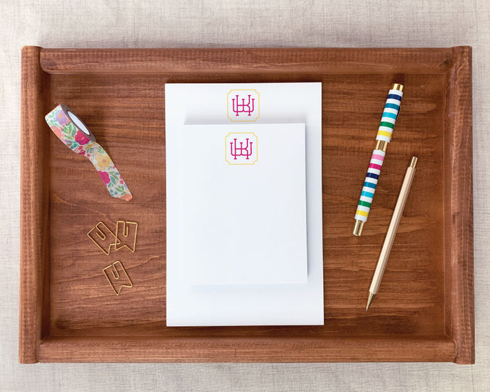 Two Color Greek Key Monogram Notepad
