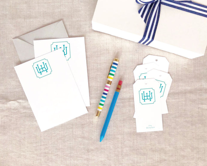 Two Color Greek Monogram Flat Stationery Gift Set
